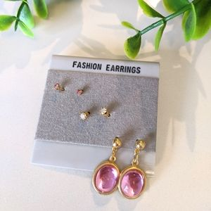 💍3/$20 3 Pairs Pink and Gold Colors Earrings